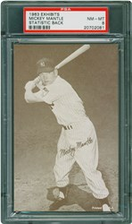 1963 Exhibits Statistic Back Mickey Mantle