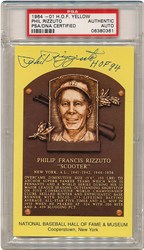 1964-Date Hall of Fame Yellow Plaque Postcard Phil Rizzuto