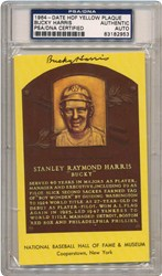 1964-Date Bucky Harris HOF Yellow Plaque