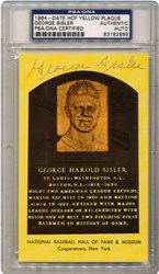 1964-Date George Sisler HOF Yellow Plaque