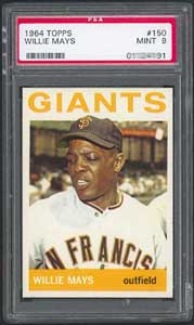 The 1964 Topps Willie Mays, always elusive in PSA 9