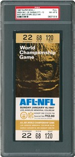 Graded PSA 8, this gold variety, full ticket to the first Super Bowl