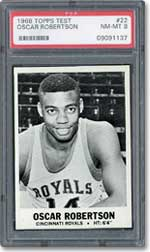 This 1968 Topps Test Oscar Robertson in PSA NM-MT 8 sold for $3,183.