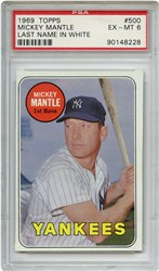 Lot 5: 1969 Topps Mantle Whie Letter PSA 6