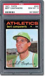 PSA Mint Gem Mint 10 1971Topps Bert Campaneris - sold for $1,610.