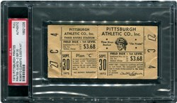 1972 Pittsburgh Pirates Full Ticket; Pirates-5, Mets-0; (Roberto Clemente 3,000th Hit)