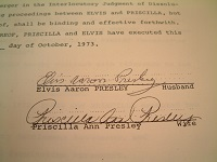 1973 Elvis Presley Signed Document