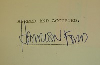 1973 Harrison Ford Signed Document