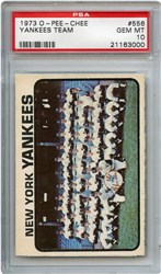 Lot 15: 1973 OPC Yankees Team PSA 10 Pop 1