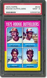 Jim Rice's rookie card is the 4-in-1 1975 Topps Rookie Outfielders issue.