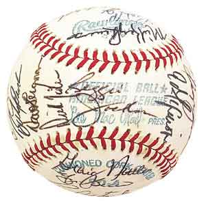 1977 New York Yankee team signed baseball sells for $10,972