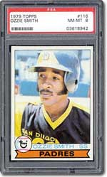 The 1979 Topps set includes the rookie card of future Hall of Famer Ozzie Smith.
