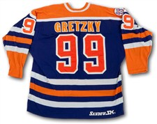 1980-81 Wayne Gretzky Edmonton Oilers (2nd Year) Game Worn Blue Set 1 Road Jersey - Sold For: $110,293