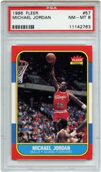 Lot 3: 1986 Fleer Jordan RC PSA 8