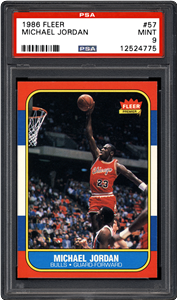 The grand prize in PSA's give away of Chicago sports icons memorabilia at the 2015 National Sports Collectors Convention is this 1986 Fleer #57 rookie card of Michael Jordan graded PSA Mint 9.