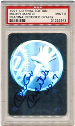 1991 Upper Deck Final Edition NY Yankees Hologram - Mickey Mantle Autograph