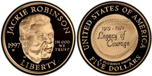 Proof version of the five-dollar commemorative gold coin.
