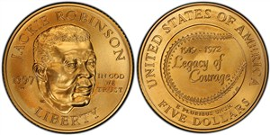 Uncirculated (mint state) version of the five-dollar commemorative gold coin.