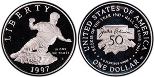 Proof version of the silver dollar commemorative coin.