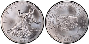 Uncirculated (mint state) version of the silver dollar commemorative coin.