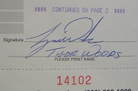 1998 Tiger Woods Signed Document (Closeup)