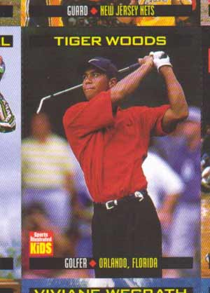 A 1999 SI Tiger Woods Uncut Sheet