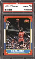 The most coveted Jordan card is his 1986-87 Fleer rookie (#57). Showcasing an exciting action shot, this single helped usher in a new era of hoops cards.