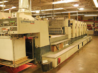 Manufacturing equipment at the Leaf Trading Card Company in Addison, Texas