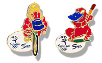 The Olympics 2000 commemorative baseball and cycling pins.