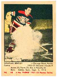 Although prone to discoloration, Parkhurst<br> hockey cards are hotly pursued by collectors.