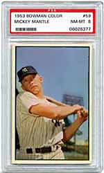 Key card to the '53 Bowman set <br>features a youthful Mantle.