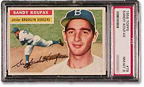 1956 Topps Koufax (PSA Graded NM-MT 8)
