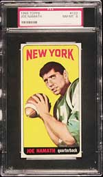The 1965 Topps Namath rookie, a classic image