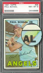The end of Paul Schaal's bat mysteriously turns bright green in a rare print variation of card #58.