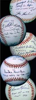 top to bottom: balls signed by Joe Nuxhall,  Ted Williams, Eddie Matthews,<br> Duke Snider and Harmon Killebrew