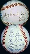 Nolan Ryan and Johnny Vandermeer signed the 'Two No-Hitters<br> in the Same Season' ball