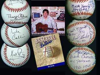 (left) 'Apollo 11' and (right) 'Yankees Shortstops' balls<br>(center) author Swirsky and his first book