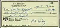 Elvis Presley Signed Check