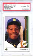 This 1989 Griffey Upper Deck #1 is<br>currently valued at $2200, according<br>to the April SMR.