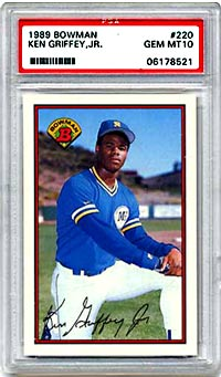 The most valuable Griffey card to date, is the 1989 Bowman Tiffany.<br>Currently worth $4000, it has increased in value by $1500 in six months.