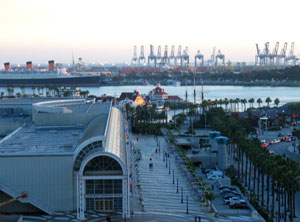 The Long Beach California Convention Center Foreground Is Conveniently Located Near Several Por Tourist Attractions Including Famous Queen Mary