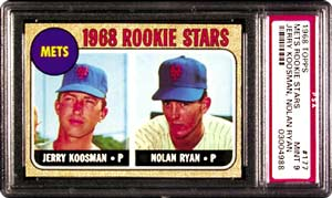 Lot 895, the 1968 Topps Mets Rookie Stars #177 Mint 9,<br> is a must have for any Nolan Ryan collector.