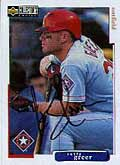 Outfielder Rusty Greer signed this  baseball card sent to him by mail.