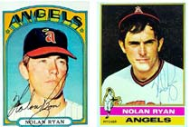 The 1972 Nolan Ryan card <br>on the left,<br> which normally would be worth $225, <br>has no value because it was signed by a batboy. <br>Compare it to the authentically-signed 1976 Ryan on the right.