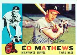 A signed 1960 Eddie Mathews card.