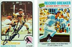 A signed 1973 Harmon Killebrew (left) and 1977 George Brett (right).