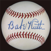 This image of a baseball signed by Babe Ruth is part of the new, extensive and free information resource about autographs of sports, historical and entertainment figures, www.PSAAutographFacts.com.