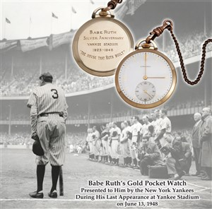 Babe Ruth's Gold Pocket Watch presented to him by the NY Yankees