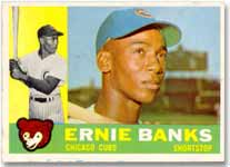 The 1960 Topps Banks card offers a colorful design.