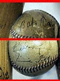 Babe Ruth (above), and <br>Jimmie Foxx (below), signed<br>baseballs are part of this<br>unique bench.